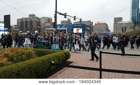 people gathering in Grant Park, Chicago for National Football League Draft Town, April 28th, 2016