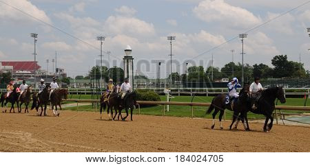 Churchill Downs, horses and riders being led to the starting gate, May 27th, 2016