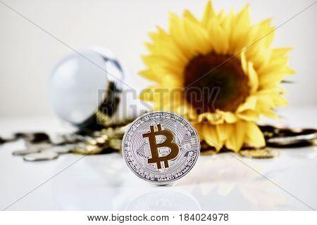 Silver Bitcoin Coin Concept