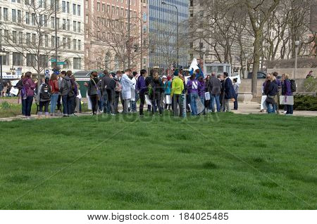 People congregating prior to start of Science March on Earth Day, Chicago, April 22nd 2017