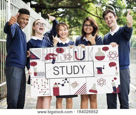 Group of students study biochemistry scientific research poster