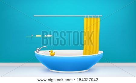 illustration of bathtub blue color in bath room and little toy duck