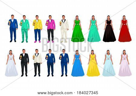 illustration of groom and bride in different color suits on white background