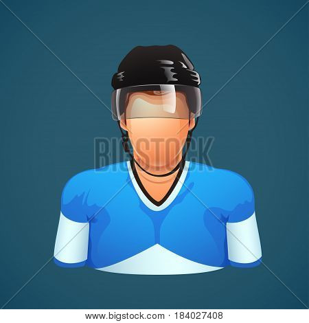 illustration of hockey player colored silhouette in equipmenton blue background