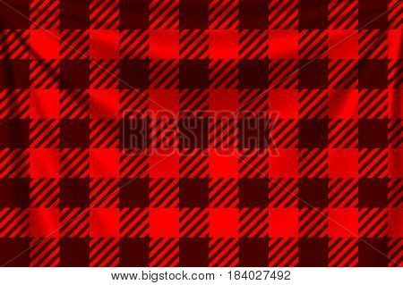 illustration of lumber red square textile background with shadows