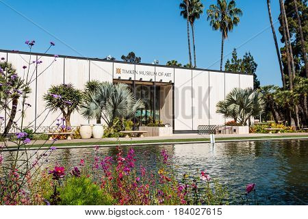 SAN DIEGO, CALIFORNIA - APRIL 28, 2017:  The Timken Museum of Art in Balboa Park, housing the Putnam Foundation Collection of European old master paintings, American paintings, and Russian icons.
