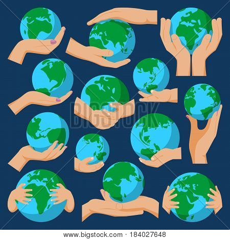 Globe earth hands holding icon planet map symbol vector illustration. Education toy icon and graphic sphere. Geography element globe icon tool. Graphic sphere pictogram application.