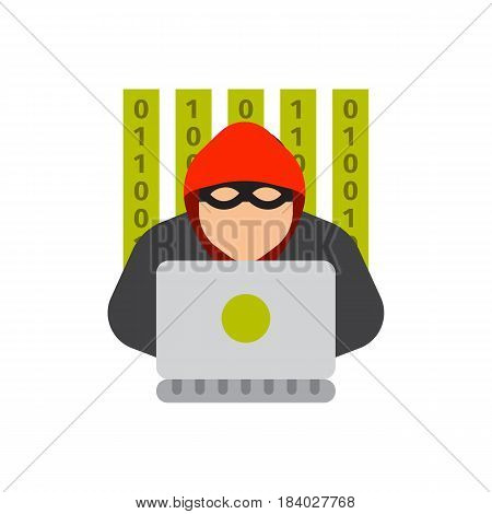 Portrait of hacker with mask password security crime technology computer spread net virus protection vector illustration. Silhouette of hooded man with binary data and network security terms.