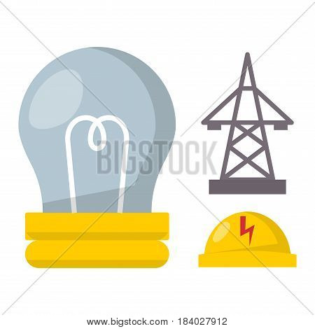 Cartoon lamp electric and bright cartoon hat flat vector brainstorming. Idea light bulb electricity design illustration isolated creative invention imagination business creativity.