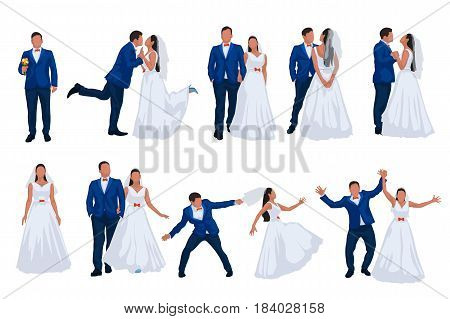 illustration of bride and groom in set of different poses on white background