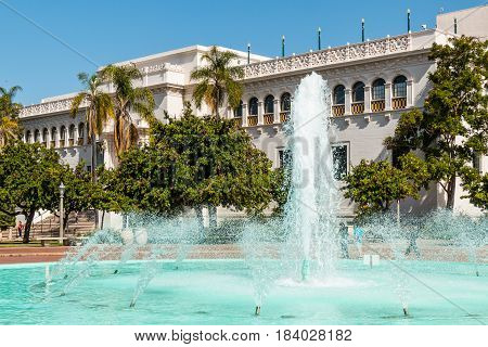 SAN DIEGO, CALIFORNIA - APRIL 28, 2017:  The Bea Evenson fountain outside the Natural History Museum in Balboa Park, an urban cultural park.