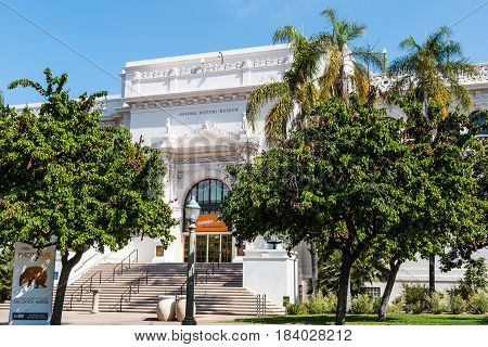 SAN DIEGO, CALIFORNIA - APRIL 28, 2017:  The Natural History Museum in Balboa Park, founded in 1874, and housing exhibits pertaining to the natural history of Southern California.
