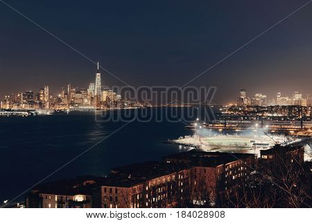 Downtown Manhattan and New Jersey at night