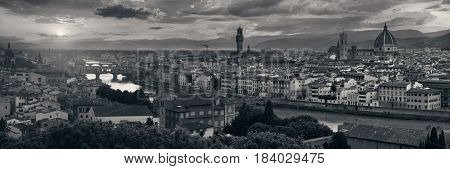 Florence skyline viewed from Piazzale Michelangelo in black and white