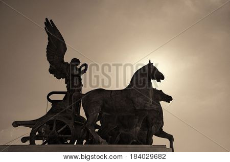 Statue closeup at rooftop of National Monument to Victor Emmanuel II or II Vittoriano in Piazza Venezia, Rome, Italy poster