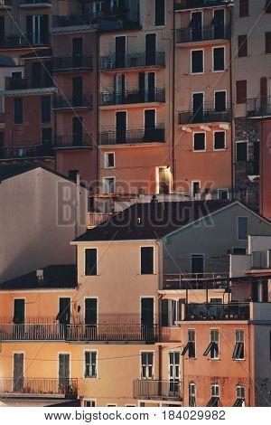 Abstract Italian style building closeup night background in Manarola, Cinque Terre, Italy.