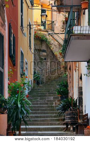 Monterosso street view in Cinque Terre in Italy