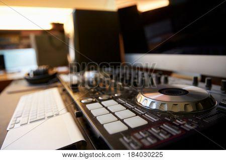 Close up of DJ Decks
