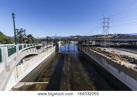 Los Angeles River near the Golden State 5 Freeway bridge in Southern California.
