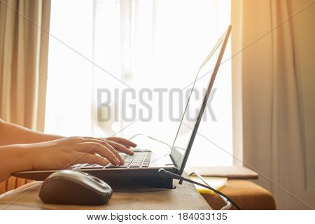 businessman working with laptop view of hands on notebook business person at homeplace.