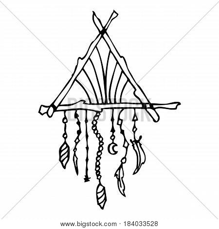 Hand drawn doodles boho, tribal design element with dream catcher