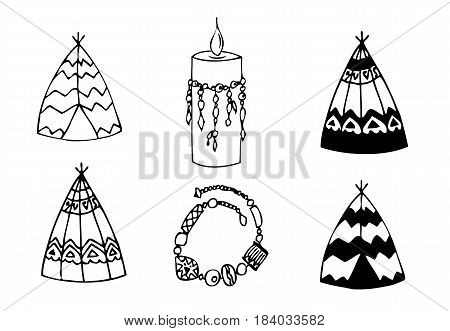 Hand drawn doodles boho, tribal design element with teepee, armlet, candle