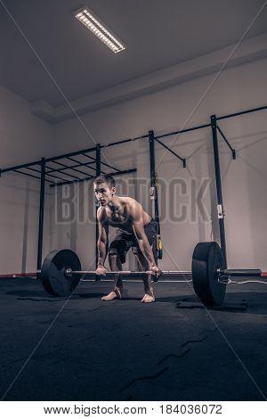 Bodybuilder Deadlift, Weights Bar Barbell, Dark Gym Indoors