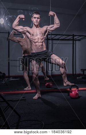 Bodybuilder Posing, Arms Outstretched