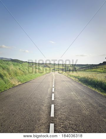 Long road in the countryside
