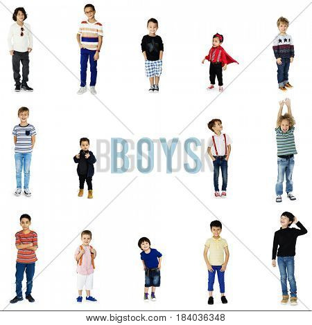 Diverse of Young Boys Set Gesture Standing Together Studio Isolated