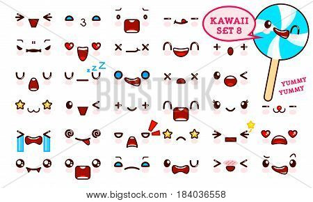 Set of cute kawaii emoticon face and sweet candy on a stick kawaii. Collection emoticon manga cartoon style. Vector illustration. Adorable characters icons design