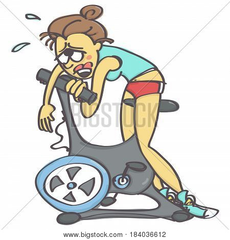 Funny vector cartoon with exhausted woman on stationary bike