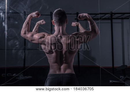 Bodybuilder, Muscular Strong Back, Mirror Image