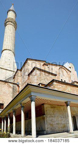 The one of Hagia Sophia minaret Istanbul Turkey
