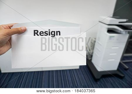business concept of women submit resignation letter to her boss in office