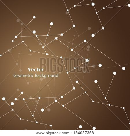 Geometric pattern with connected lines and dots. Vector illustration on brown background.