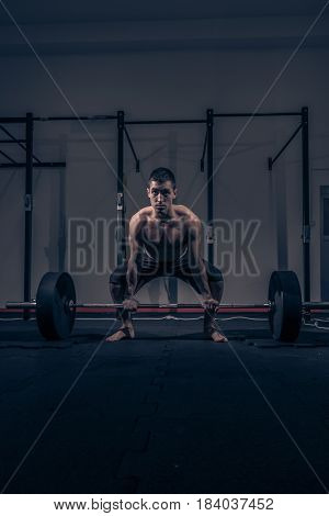 One Young Adult Man Bodybuilder, Shouting Screaming Deadlift