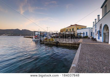 AGIA MARINA, GREECE - MARCH 25, 2017: Harbor in Agia Marina village on Leros island in Greece early in the morning on March 25, 2017.
