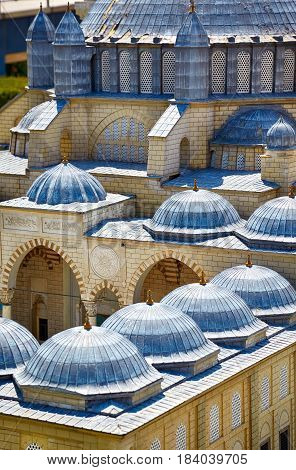 Miniaturk, Istanbul. The Domes Of Selimiye Mosque In Edirne, Turkey.