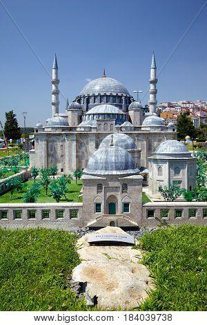 Miniaturk, Istanbul. A Scale Copy Of Suleymaniye Mosque In Istanbul.