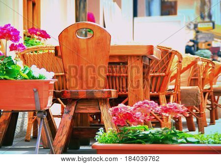 Summer Cafe Wooden Table Outdoors At The Phono Flowers