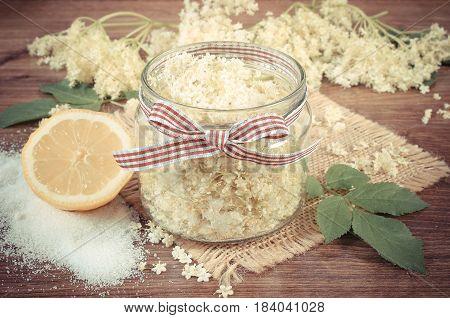 Vintage Photo, Elderberry Flowers And Ingredients For Preparing Fresh Healthy Juice