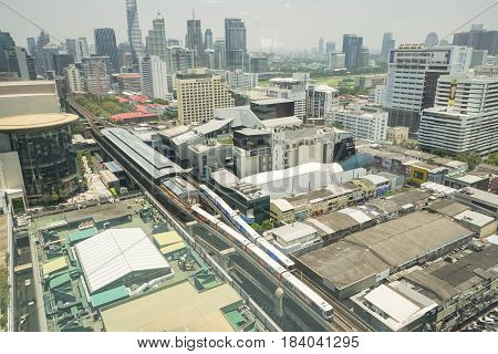 top view of Siam BTS sky train taken in Bangkok on 26 April 2017