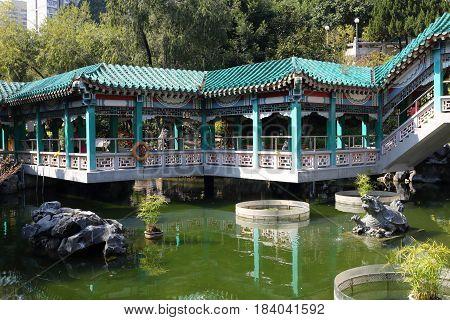 Pool with walk way in Wong tai sin temple, Hong Kong