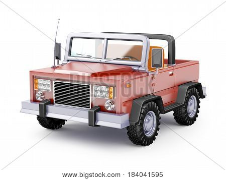 Red safari suv in retro cartoon style isolated on white. 3d illustration.