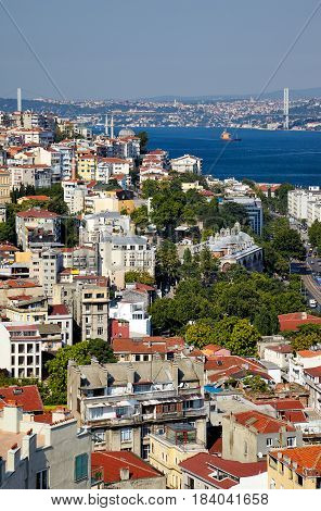 The View From The Galata Tower To The Residental Houses With Bosphorus Strait, Istanbul