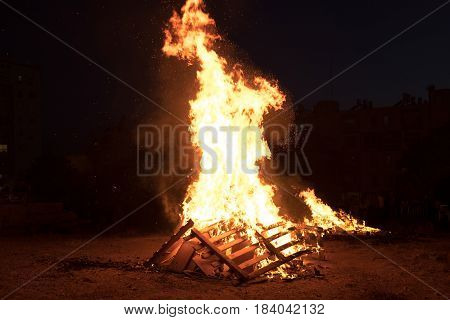 Lighting Of Bonfires At Jewish Holiday Of Lag Baomer, The Day Of Commemorate The Death Of Rabbi Shim