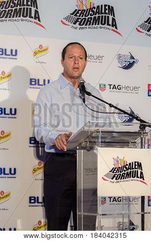 Nir Barkat, Mayor Of Jerusalem At Press Conference Formula One Presentation In Jerusalem. Israel