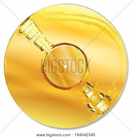 A golden record as presented to million seller artists on a white background