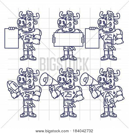 Sketch Character Set Bull Football Player Holds Megaphone Ball Paper